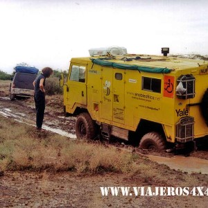 Land Rover stranded in the mud at Sibiloi National Park, Kenya