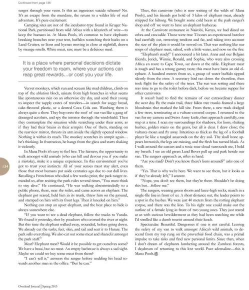Pablo Rey article about Mana Pools National Park, Zimbabwe, for Overland Journal Magazine. Around the World in 10 Years