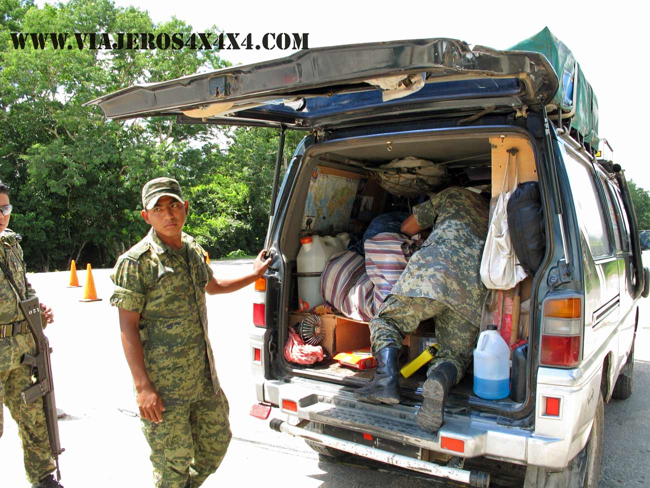 Mexican military during a search in our 4wd van, La Cucaracha. Mexico